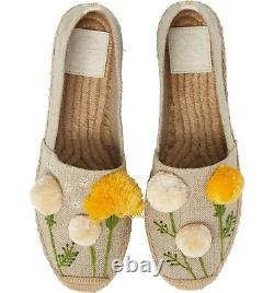 Tory Burch Espadrilles Natural Linen Lily Pom pom Platform Flats Shoes 8.5