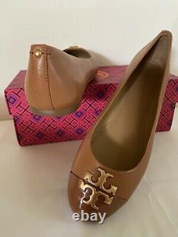 Tory Burch Everly Cap Toe Leather Patent Ballet Flats Shoe Tan US 7.5 8.5