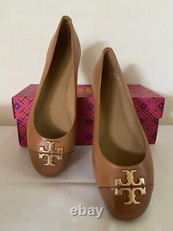 Tory Burch Everly Cap Toe Patent Leather Ballet Flat Shoes 7.5 8.5 Tan Brown