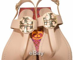 Tory Burch Everly Flat Thongs Sandals Blush Leather Shoe Flip Flops 10.5 T Strap