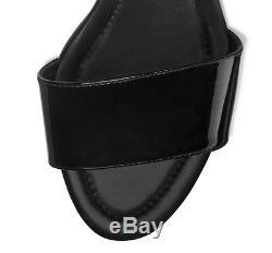 Tory Burch Finley Black Patent Leather 7943 Logo Block Heel Sandals Size 9