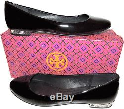 Tory Burch Flat Black Patent Leather Crystals Heel Pump Ballet Ballerina Shoe 10