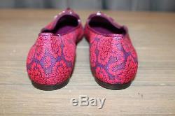 Tory Burch Floral Flats Women's Size 8.5 M, Red/Cobalt