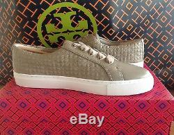 Tory Burch French/Gray/White Bryant Quilted Leather Sneakers/Shoes S. 10 M