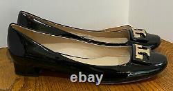 Tory Burch GIGI Gold Logo Low Heel Pump shoes Black Patent Leather US 11 M