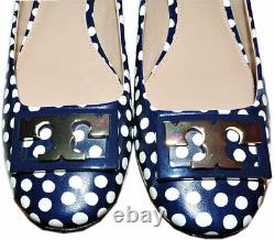 Tory Burch GIGI Gold Logo Low Heel Pumps Polka Dot Navy Shoes 9.5