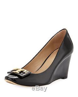 Tory Burch GIGI Wedge Pumps Black Patent Leather Gold Logo Shoes 8.5
