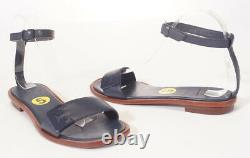 Tory Burch Gabrielle Women Navy Leather Ankle Strap Flat Sandals Shoes 5 $295