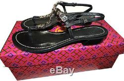 Tory Burch Gemini Black Leather Gold Chain Link Sandal T Strap 7 Thongs Shoes