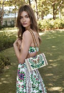 Tory Burch Gemini Link Garden Party Print Chain Leather Shoulder Bag & Heel Set