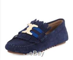 Tory Burch Gemini Link Suede Kiltie Drivers with Fringe Vamp 8 M