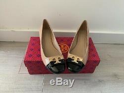 Tory Burch Gigi Color Block Beige and Black Low Heel Pump Shoes Size 7.5
