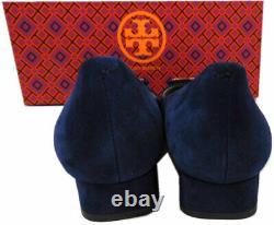 Tory Burch' Gigi' Gold Logo Low Heel Pump Blue Suede Shoes 7.5 Gold Logo