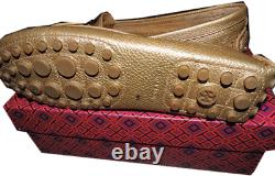 Tory Burch Gold Driving Loafers KENDRIK Flat Moccasins Ballet Shoes 9.5