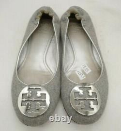 Tory Burch Gray Silver Logo Medallion Slip On Flats Shoes Women's 8.5 M