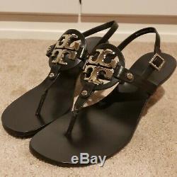 Tory Burch Holly 2 Black Leather Silver Emblem Slingback Heel Sandals Size 11