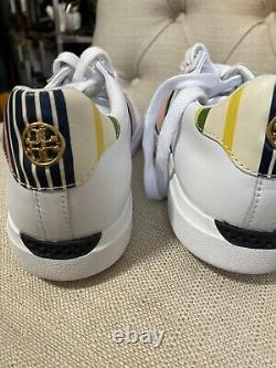 Tory Burch Howell Court Shoes White Pink Calf Leather Sneakers US 9.5 NWT
