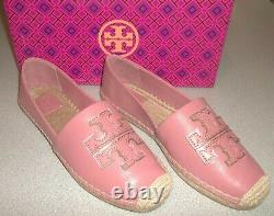Tory Burch Ines Espadrille Spark Gold Leather Slip On Summer Shoes Size 9 NIB