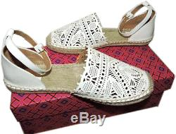 Tory Burch Ivory Clarisse Laser Espadrilles Flats Sandals Loafers Flat Shoes 7.5
