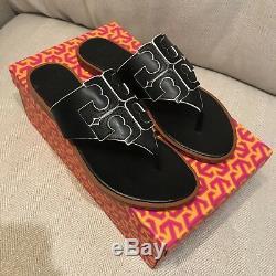 Tory Burch Jamie Full Logo Thong Flat Sandals Black Leather- size 7