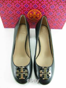 Tory Burch Janey Black Leather Gold Logo 50mm Size 9 Women's Pump Heel Shoes