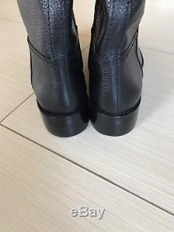Tory Burch Joanna Black Leather Riding Boots Gold Logo Size 8.5 New $495