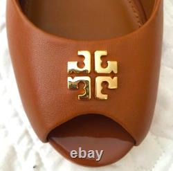 Tory Burch Jolie 85MM Peep Toe Heel Wedge Shoes Royal Tan Gold Logo Sz 10 46313