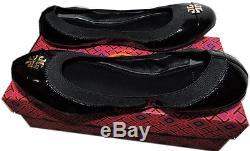Tory Burch Jolie Ballerina Flats Black Logo Minnie Reva Leather Ballet Shoe 8