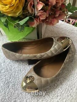 Tory Burch KAITLIN Quilted with gold cap toe flat shoe size 7.5 sh30000