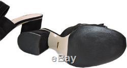 Tory Burch KARA Peep Toe Wedge Pump shoe Tan Leather Gold Logo 7 37.5