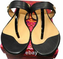 Tory Burch KIRA Thongs Sandals Black Leather Shoes Flip Flops 10.5 Gold Logo