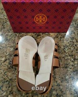 Tory Burch Kira Multi Band Sandals Slides Flats Tan Leather Womens Shoes 10 New