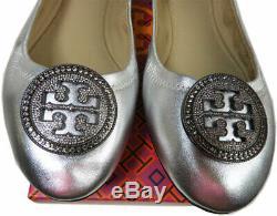 Tory Burch LIANA Crystals Logo Reva Ballerina Flats Ballet Shoes 10 Silver