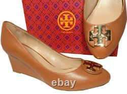 Tory Burch LUNA Wedge 85mm Tan Leather Almond Toe Pumps Gold Logo Shoes 10