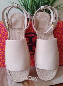 Tory Burch Landon Espadrille Sandal Veg Nappa Leather Dulce De Leche Size 7 Nwb