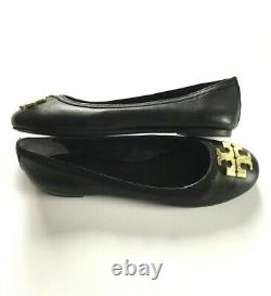 Tory Burch Laura Ballet Flats Black Big Gold Double T Logo Size 7.5 Shoes New