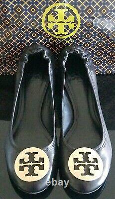 Tory Burch Leather Stretch 2 Block-heel Gold Logo Women's Shoes Sz 6.5 Mint