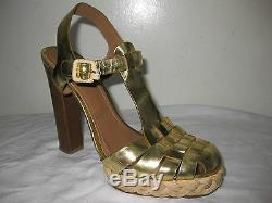 Tory Burch Leather Yellow Gold Heel Woven Sandals Shoes Size 8 M