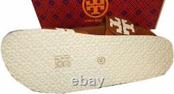 Tory Burch Leigh Tumbled Leather Logo Slide Sandals Sz 11 Shoes