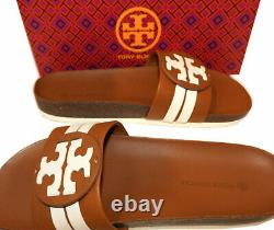 Tory Burch Leigh Tumbled Leather Logo Slide Sandals Sz 7.5 Shoes