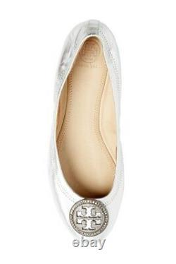 Tory Burch Liana Ballet Flat Shoes Silver Metallic Us Size 7 New
