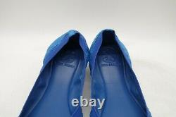 Tory Burch Logo Blue Snakeskin Print Leather Ballet Flats Shoes Women's 7.5 M