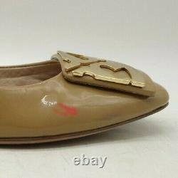 Tory Burch Logo Brown Patent Leather Slip On Flats Shoes Women's 7.5 M