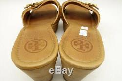 Tory Burch Logo Brown Slide Platform Wedge Fashion Sandals Shoes Women's 10 M