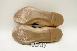 Tory Burch Logo Tan Black Cap Toe Slip On Ballet Flats Shoes Women's 10.5 M