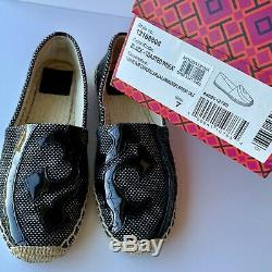 Tory Burch Lonnie Womens Size 7M Black Slip On Espadrille Ballet Flat Shoes