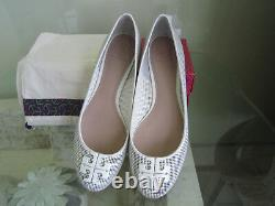 Tory Burch Lowell 2 Perforated Ballet Flat Shoes, Veg Nappa, Ivory Sz 9.5