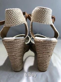 Tory Burch Lucis Lace Wedge Espadrille Sandal Tan Blu White Women's Size 10 $250