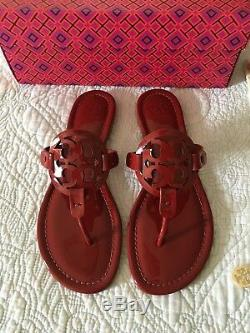 Tory Burch MILLER Soft Patent Calf Leather Sandal Dark Red stone Size 6 New