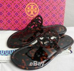 Tory Burch MILLER Tortoise Shell Soft Printed Patent Leather Sandal Size 9.5 New